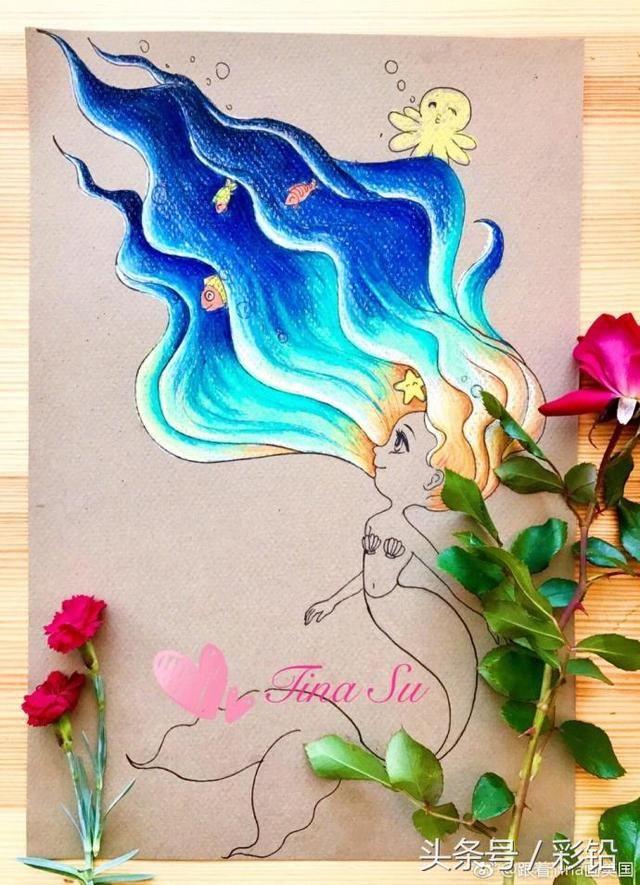 彩铅入门教程,教你画一个可爱的小美人鱼