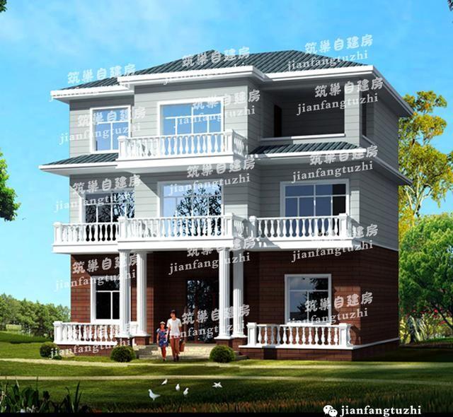 12x9三层别墅,农村房+走廊+多阳台,老人自建房唯美别墅图片