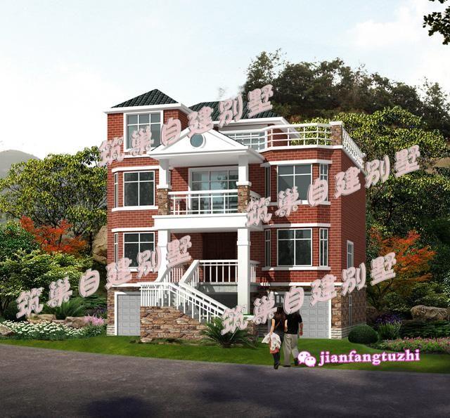 浙江10011x11米带架空层三层半农村别墅设计图建筑图纸