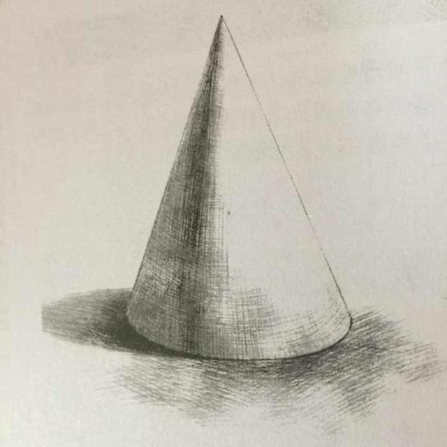 技法提要: 1,圆锥体是一个圆形透视的典型例子,圆面从底面向上,视平