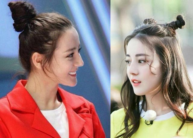 5位女明星同扎丸子头搭龙须刘海,迪丽热巴最多变,杨颖
