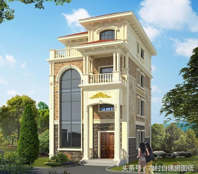 款很豪华大气欧式别墅,四层设计复式客厅,限弧形的八角窗漂亮时尚.