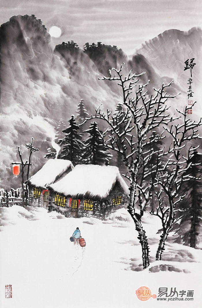 雪景国画 吴大恺最新力作竖幅山水画《归》图片