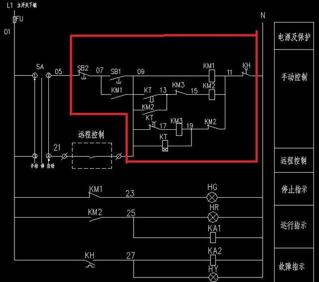 电动机星三角启动带远程控制及反馈信号