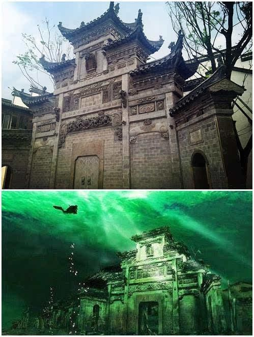 千岛湖水下古城,现实版的张家古楼!