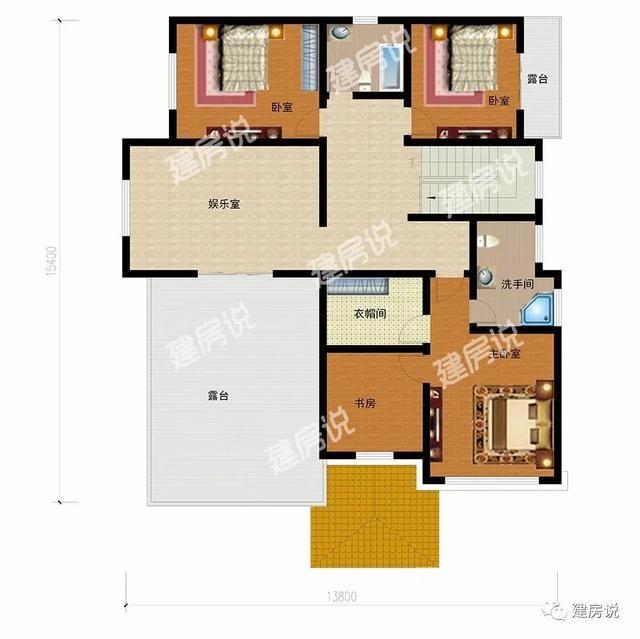农村盖房子设计图,10米宽13米长,怎么设计?要2个卧室