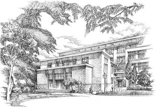 山西省图书馆旧址手绘图