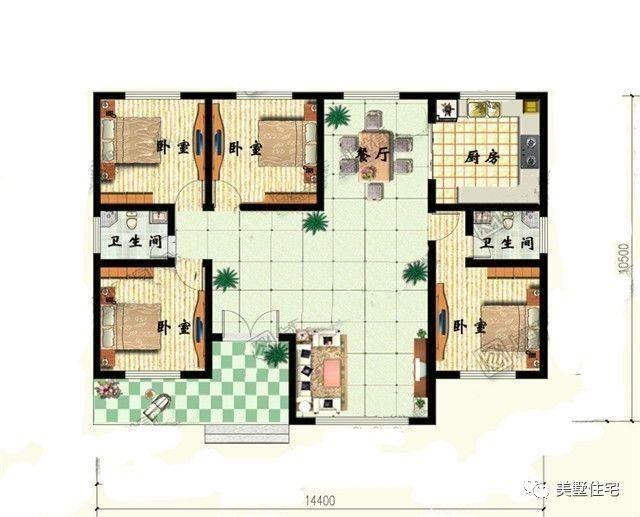 3套一层农村自建房别墅效果图 平面设计图,不用再去找
