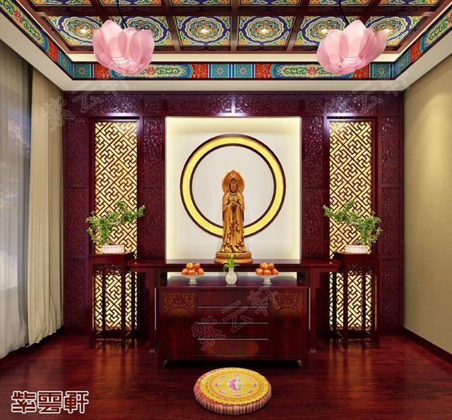 别墅佛堂古典中式装修效果图,在一方蒲团上静心祈祷,于梵音袅绕中了