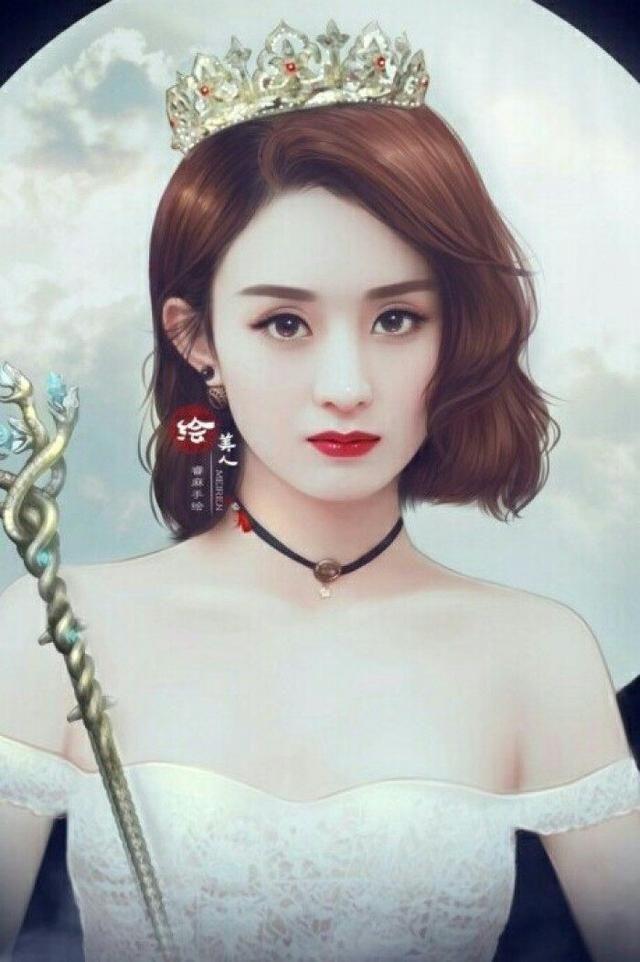 戴皇冠手绘最美女星,赵丽颖垫底,热巴不敌杨颖,第一位