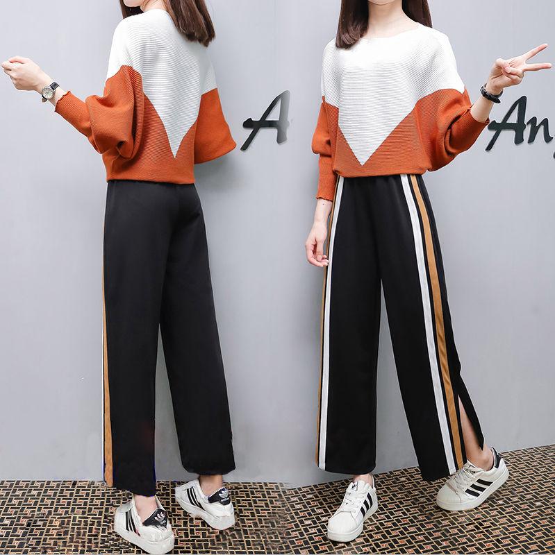 春秋装新款阔腿裤针织套装这款阔腿裤针织套装,衣服超级显高,质量好