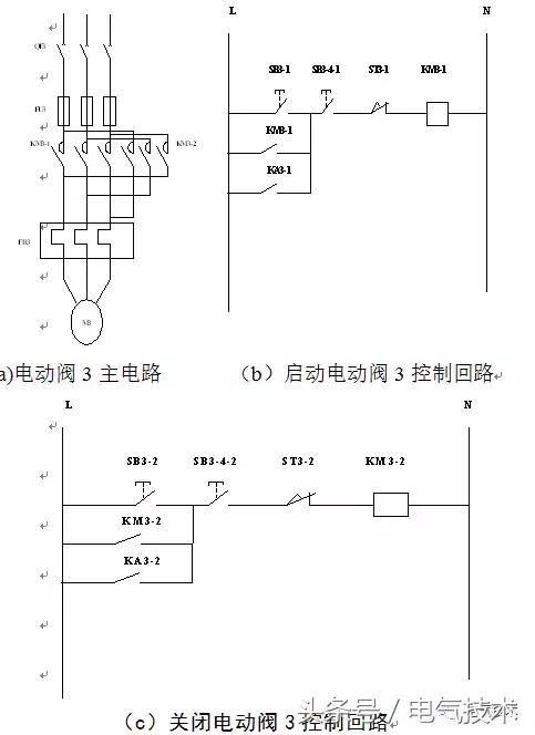 图5(a)表示的电动阀3的主电路,主电路由刀开关qf3,熔断器fu3,接触器km
