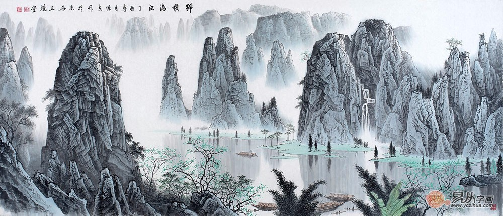 线条山水风景图案