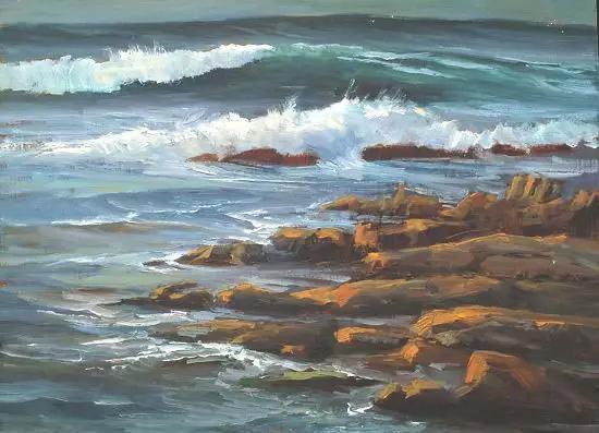 海景油画印象:走在沙滩,一望无际海景,湛蓝天空,迷人彩霞,清晨的曙光