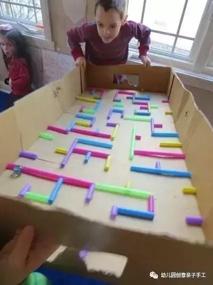 幼儿园玩教具手工创意:盒子 吸管,陪娃自制迷宫,太会玩了!