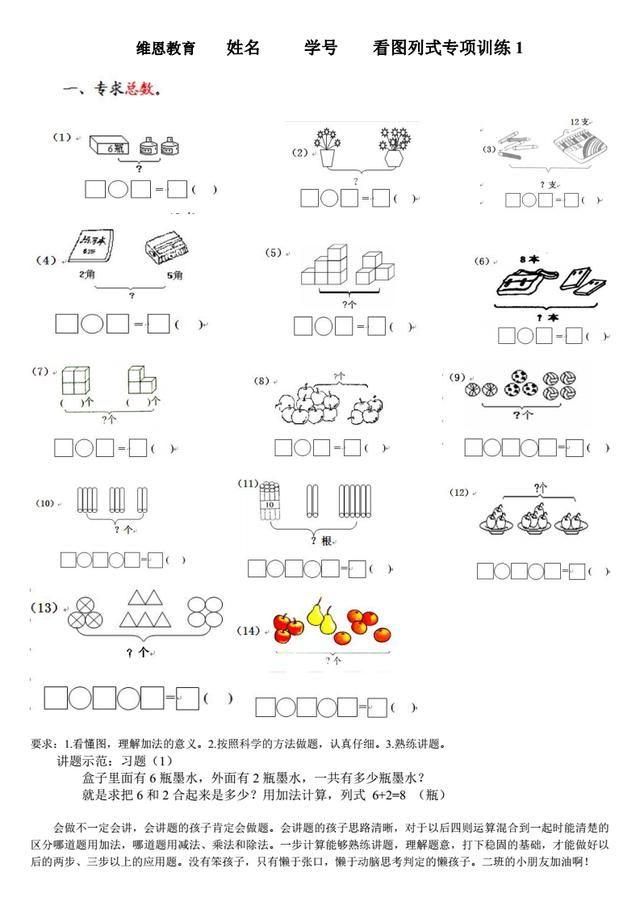 维恩教育:一线教师分享,一年级数学看图列式专项题卡图片