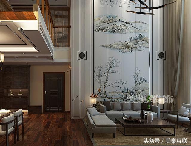 新乡240平复式别墅新中式风格设计,淡雅时尚的温馨美家