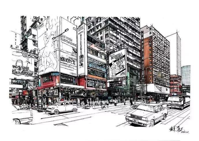 看了他的马克笔超写实香港街景,让人有冲动去逛逛!