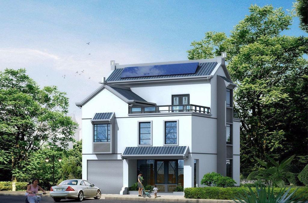 三层半农村别墅,灰白外立面整体低调奢华,东侧采用阳台设计,提升居住
