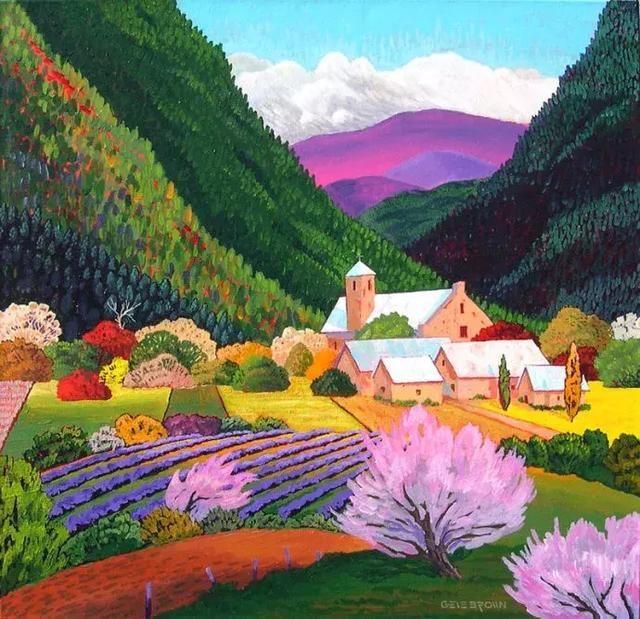看他的几张画 只觉得他的色彩运用,块面感 把平面的田园风光画出立体图片