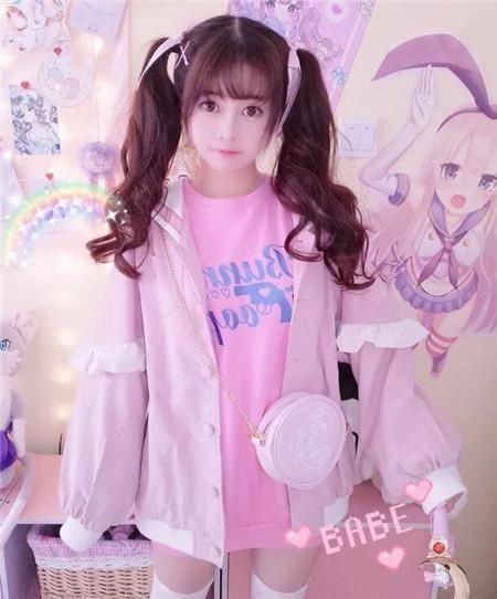 二次元双马尾发型 二次元空气刘海搭配蓬松波浪卷发线条设计,粉色的