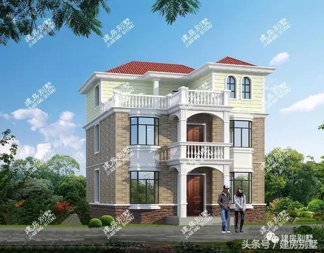 简约的三层农村别墅,带飘窗和露台,主体造价25万左右