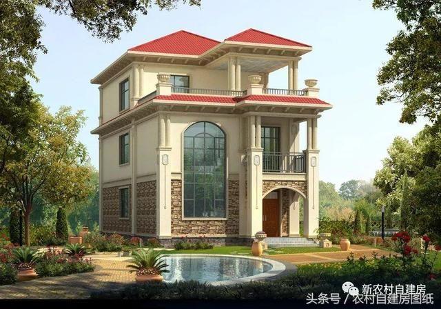 面宽8米的农村宅基地建房,6款图纸经典宠物,让小图纸窝别墅图片