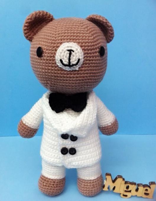钩针玩偶图解教程婚礼小熊,钩一对当结婚礼物送人吧