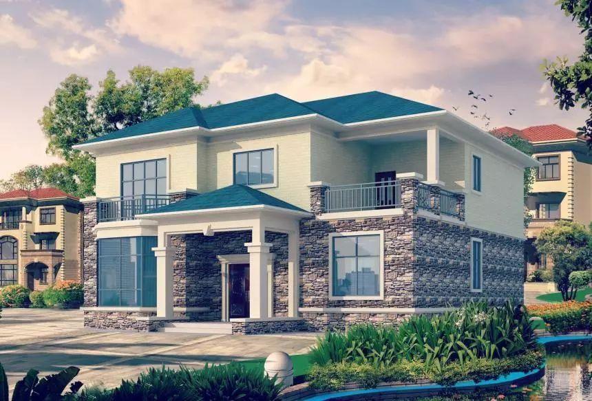 温馨大气的一款农村小别墅,进门可以设计堂屋神位,一楼有二间卧室,二图片