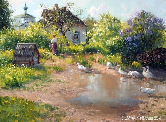 这位画家画的田园风光作品美翻了,是不是你向往的地方图片