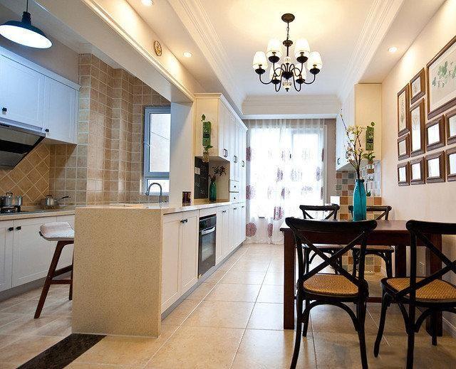 客厅和餐厅厨房一线没有阳台,餐厅和厨房中间推拉门,可以装窗帘么?