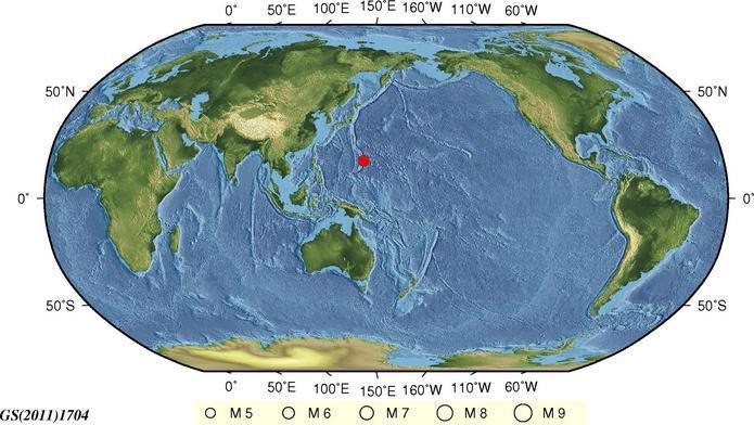 10月26日17时5分马里亚纳群岛地区发生5.8级地震