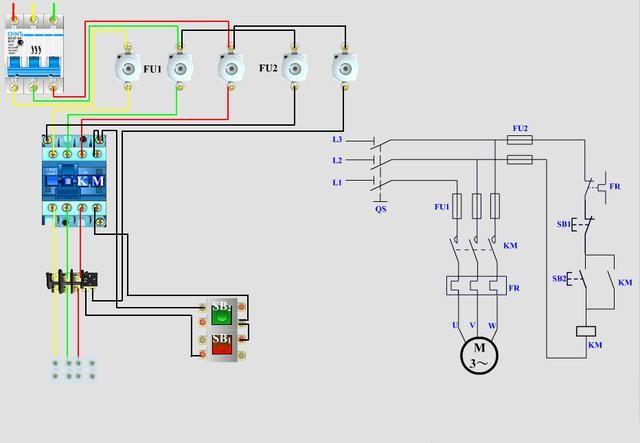 这个是简易的自锁电路,省掉了一个热过载继电器.