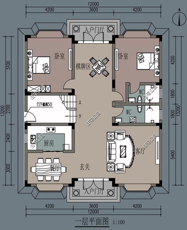 农村别墅设计新趋势,餐厅厨房要朝南,10米11米12米面宽户型3套图片