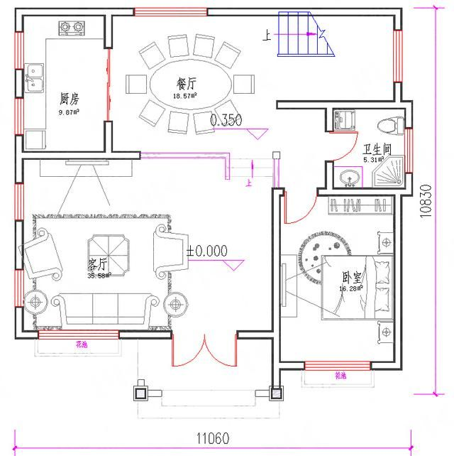 25万3厅5室11×11三层带镜像图,还带有建成效果图,户型设计简约时尚