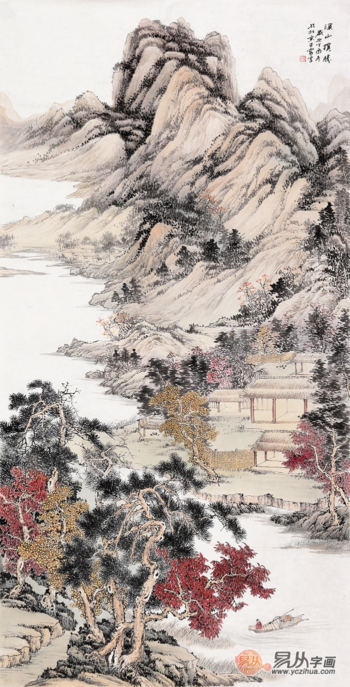 新中式玄关画--名家山水画竖幅佳作欣赏