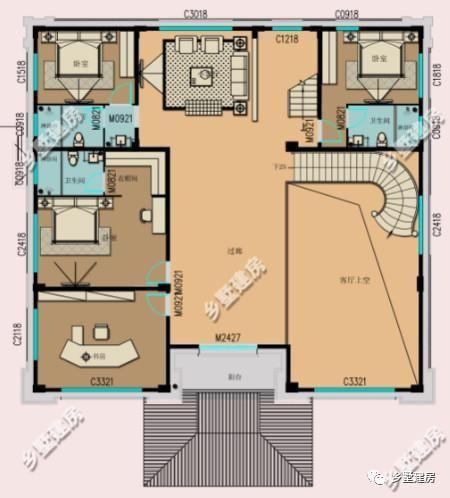 三层平面设计图:配置了小客厅,起居室,四间卧室和两个半露台.