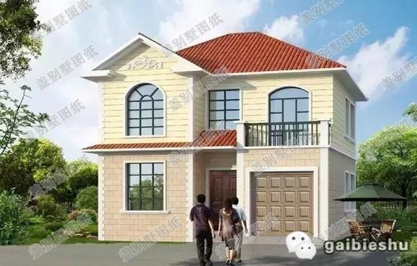 层农村别墅设计图是经过优化的欧式风格,简单的线条与明快的外墙色彩