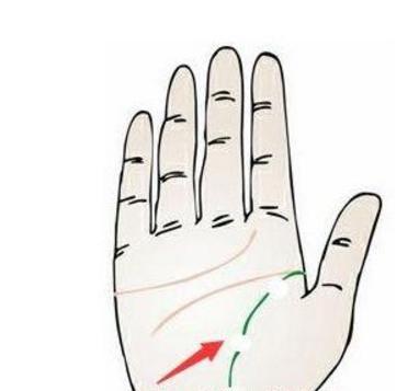 女人的右手生命线从起始位置断开,左手生命线是良好的,这说明,这个