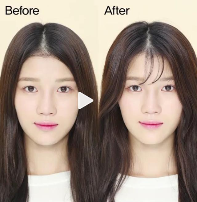 首先我们要做的就是梳理好头发,然后取刘海中间的一小缕头发,剪到鼻梁图片