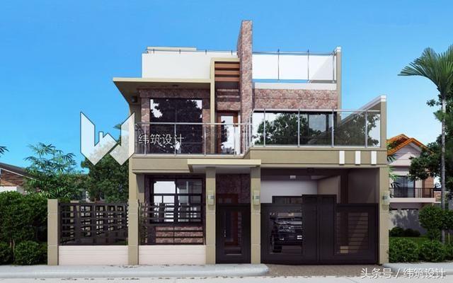 共设4房 3卫 2厅 1厨 1阳台 1停车位 设计效果图▼ 头条两层平顶房172