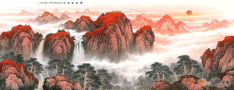 四,王宁最新力作六尺横幅泰山风水画《鸿运当头》