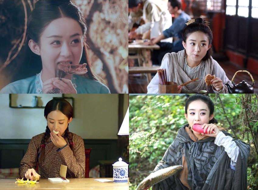 连丽颖参演的电视剧也是,每部剧当中都能出现赵丽颖吃东西的样子.