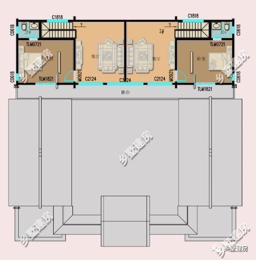 025米; 主体造价:40万左右; 一层平面设计图:一楼设有五间卧室,一间