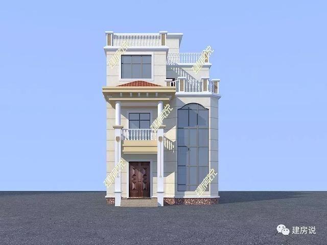 8x15米简欧别墅,带地下室+多卧室+书房,屋顶花园简直