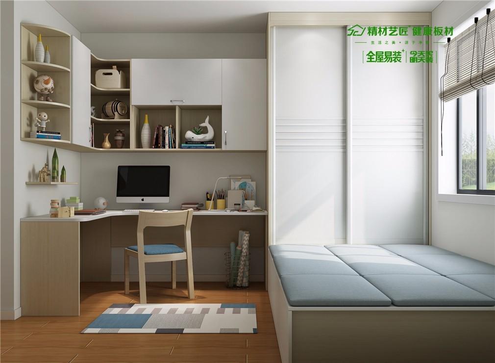 儿童房衣柜采用平板夹百叶的设计,给人一种淡雅美;转角书桌+吊柜的图片