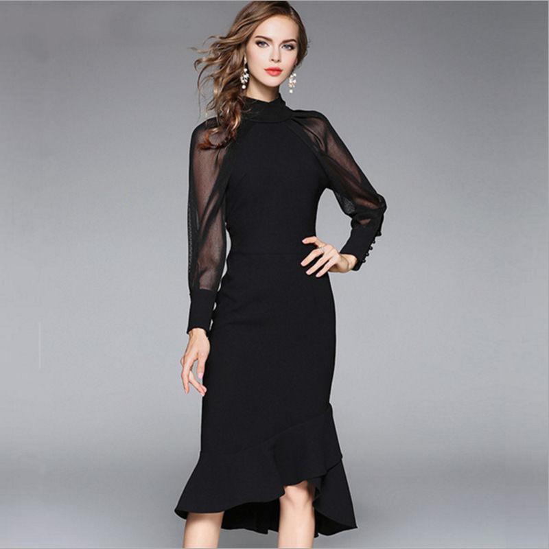 修身中袖a字裙宴会复古小黑裙黑色裙子复古的灯笼袖造型,更加有种欧式