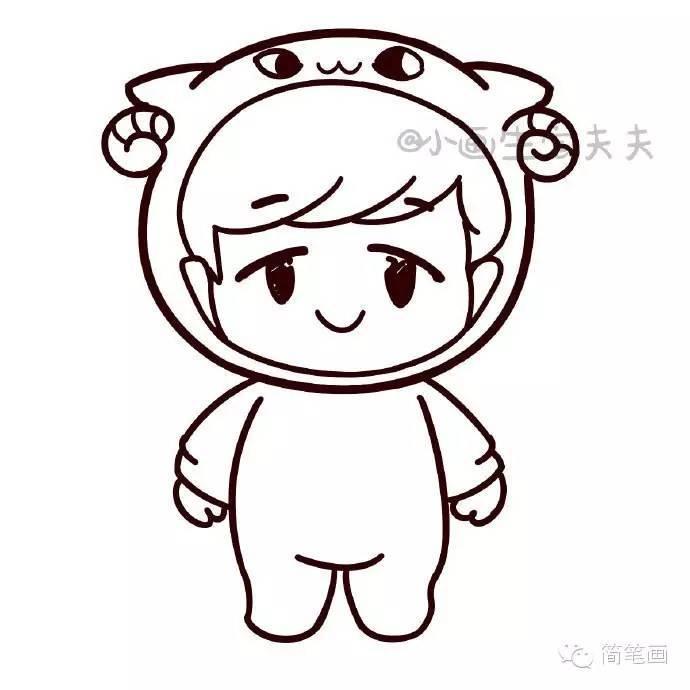 萌萌的小绵羊 exo 张艺兴简笔画教程