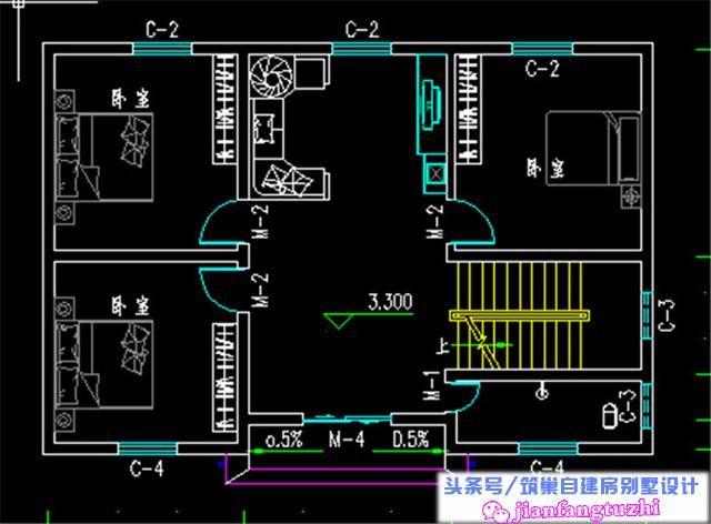 12x8米110平方米二层半农村自建房设计图含全套施工图