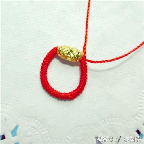 用红绳编织转运珠戒指编法图解教程